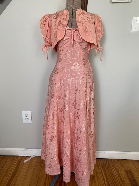 Vintage Late 30's dress and crop jacket set - image 2