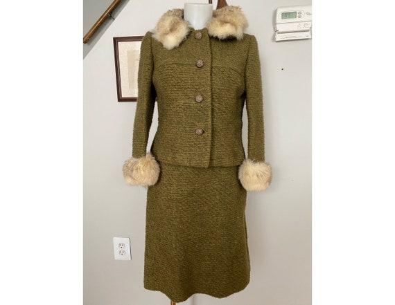 Vintage Bonwit Teller wool and fur skirt suit - image 1
