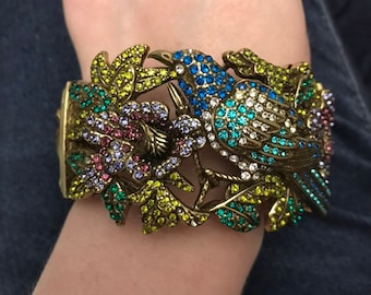 Rhinestone Bird Gold Tone Bracelet