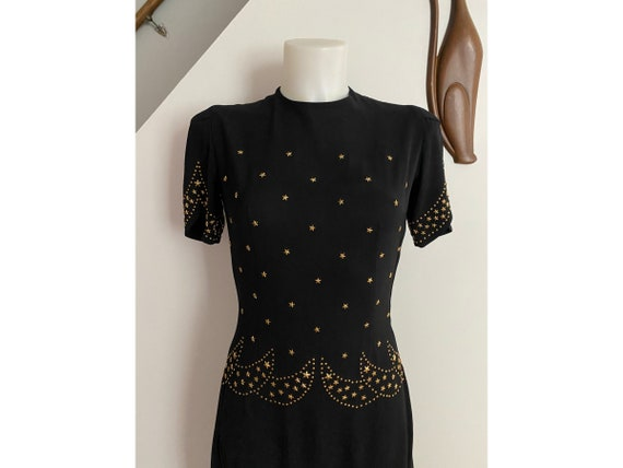 Vintage 1940's Gold Star Celestial Dress