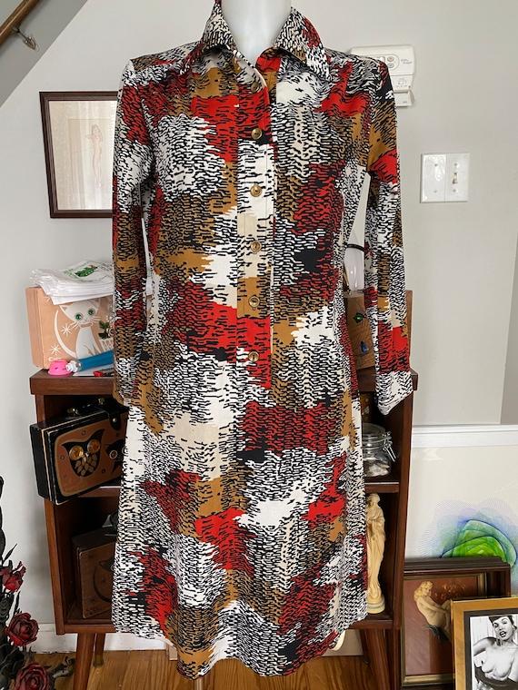 Vintage 1970's Toni Todd mod shirt dress - image 2