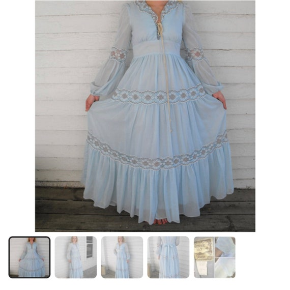 Vintage unlabeled Gunne Sax style prairie dress - image 10