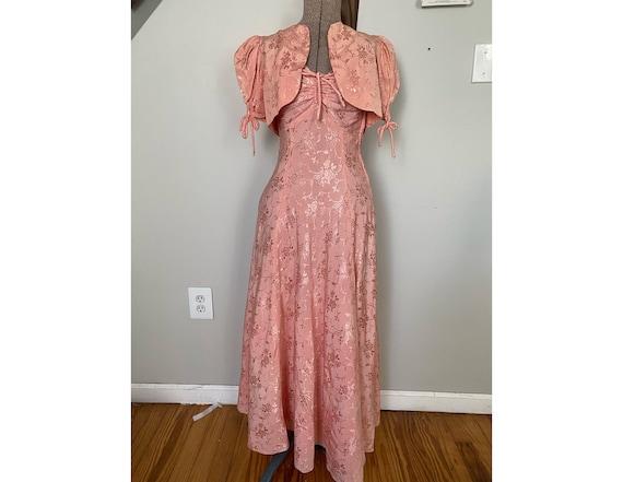Vintage Late 30's dress and crop jacket set - image 1
