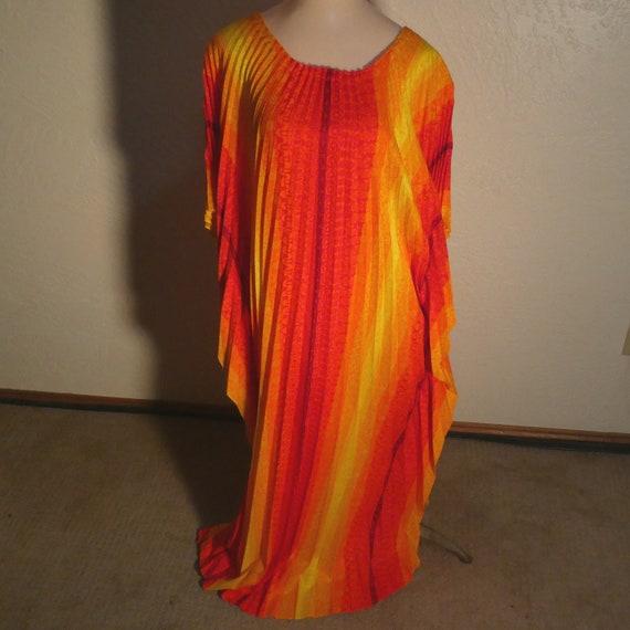 Vintage Greencastle Pleated Dress Caftan Cape Neon
