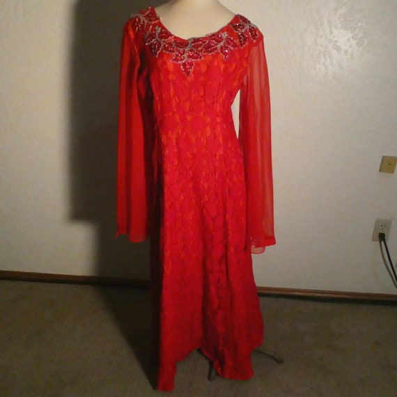 Red Beaded Dress Bell Sleeve Ann's Vogue Shoppe Vi