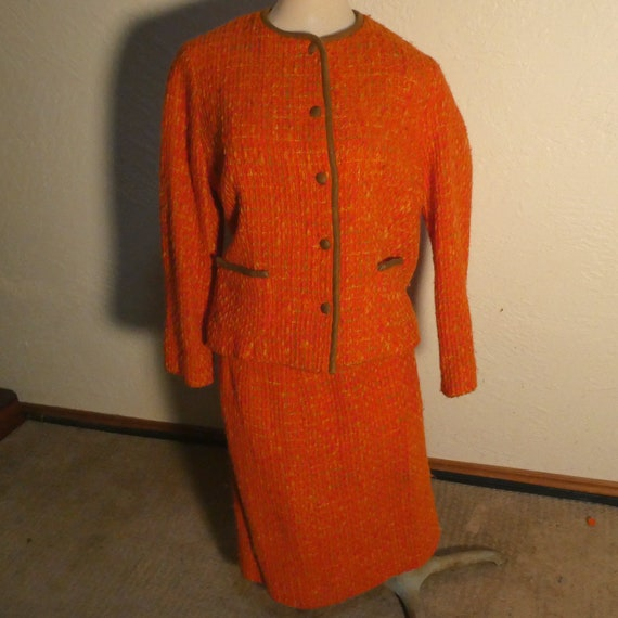 Joseph Magnin Orange Wool Suit Vintage Jacket & Sk