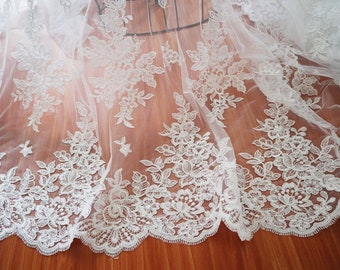 Ivory lace fabric French Lace Alencon Lace EVS017B Bridal lace White Lace Veil lace Embroidered lace Lingerie Lace Wedding Lace