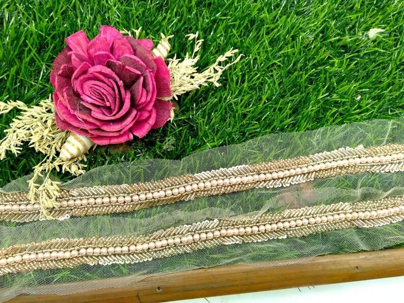 Pearl and pipe work handwork trim  Handmade Trim on net wedding dress sashes belts sari border D 123