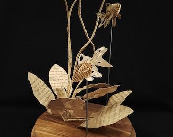 Water lily and its fish (Nymphaea Lotus Zenkeri, Carassius auratus)
