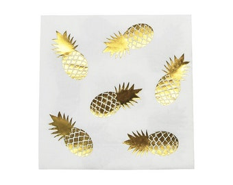 10 Pineapple Foil Napkins-Summer Birthday Party-Tropical Party-Picnic BBQ Napkins-Fruit Napkins-Tropical Decoration-Party Supplies