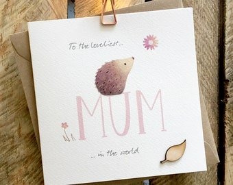cute wooden hedgehog and balloons birthday card suitable for any birthday