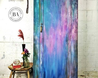 Armoire - Wardrobe - Hand Painted - Bohemian - Eclectic Decor - Colourful Decor - Upcycled - Bedroom