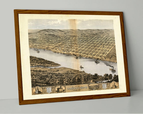 Leavenworth KS Vintage Print Poster 1869 Birds Eye View Kansas