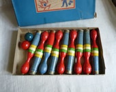 Vintage Set of Skittle Pins, Shabby and Charming Set of 9 Skittles and Two bowls, Original Box, Vintage Bowling Set