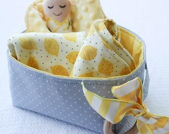 Lemon Minky Security Blanket, Baby Blanket Gift set, Yellow Minky Blanket, Soft Yellow Blankie for Baby, Security Blanket  for Newborn