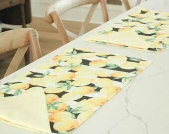 Lemon Placemat, Custom Placemats, Placemat Set, Placemat Pattern, Placemat Handmade
