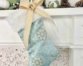 Faux Fur Trim Holiday Stocking, Blue Chinoiserie Holiday Stocking,  Blue Christmas Stocking, Holiday Decor