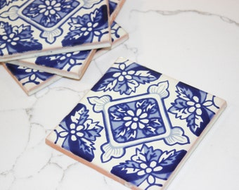 Mediterranean Tile Coaster Set, Tile Coasters, Custom Coaster Set, Coaster For Drink, Coaster Gift Set, Wedding Gift Set, Wedding Favors