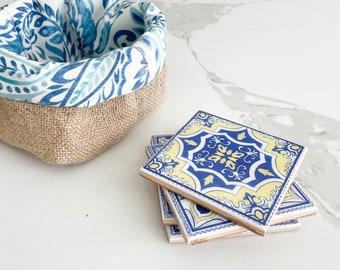Set of 4 Ceramic Tiles Coasters, Blue Pattern Ceramic Coasters, Drink Coaster, Wedding Gift, Housewarming Gift