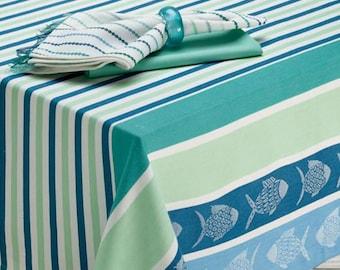 Blue Santorini Multi Color Cotton Tablecloth,  Blue Fish Tablecloth