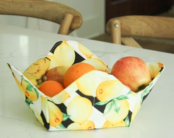 Fabric Fruit Bowl, Fabric Quilted Bowl, Quilted Fabric Basket, Storage Basket,  Homemade Fabric Basket
