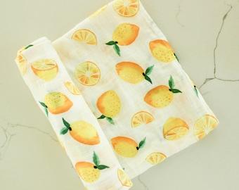 Lemon Organic Baby Blanket, Lemon Baby Swaddle, Baby Blanket, Swaddle Girl, Swaddle Blanket, Swaddle Boy, Baby Shower Gift, Swaddle Pattern