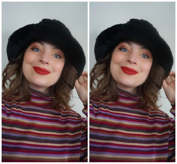 AMAZING 1990s Velvet and Faux Fur Bucket Hat