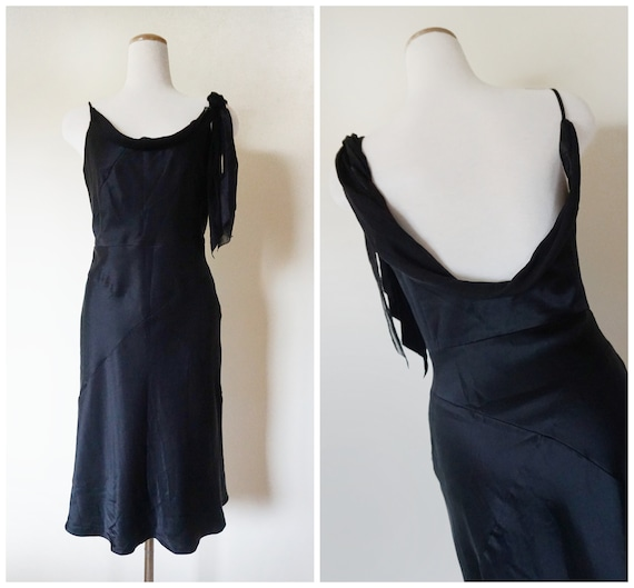 1990s BCBG Max Azaria Black Silk Dress | Bias-Cut