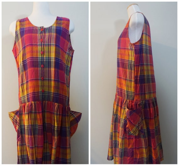 Adorable 1990s Tartan Smock Dress