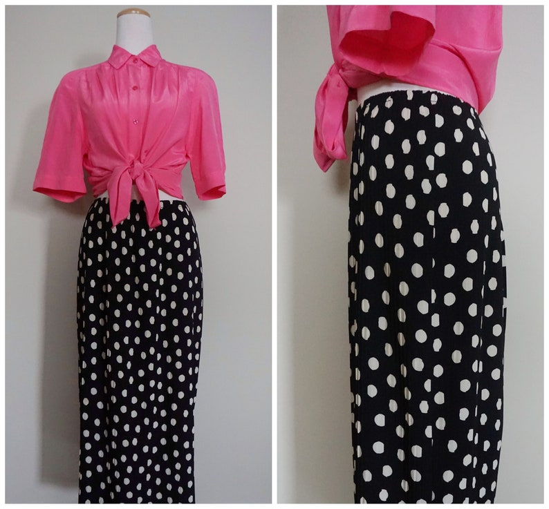 1980s Plisse Polka Dot Midi Skirt