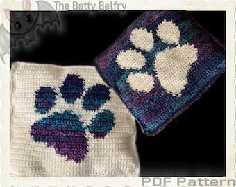 Pawprint Pillow, Crochet Graph Pattern, PDF Download Tutorial