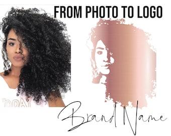 Custom ROSE GOLD portrait logo of YOU (or your choice face!) hair stylist logo, custom hair logo, black woman logo, Feminine Logo design