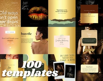 100 Inspirational Instagram Templates Gold Aesthetic - Instagram Canva Post Templates & Story template   Black Owned Business Instagram
