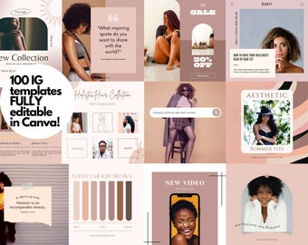 Beauty Blogger Business Instagram Canva Post Templates   50 Instagram Post Template   50 Instagram Story template  Black Owned Business IG