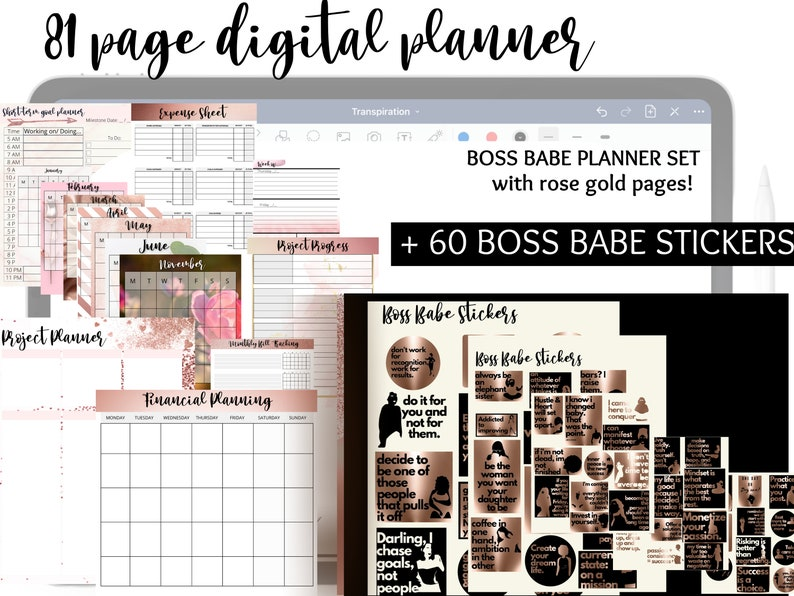 Rose Gold Digital Planner BUNDLE  Boss Babe Digital Planner image 0
