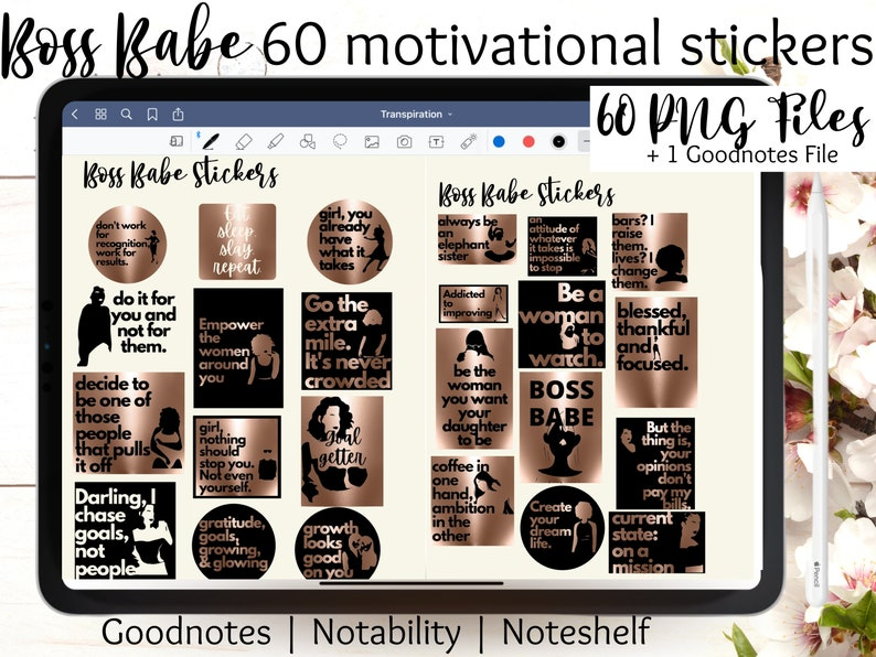 Boss Babe Digital Stickers Goodnotes planner  Rose Gold image 0
