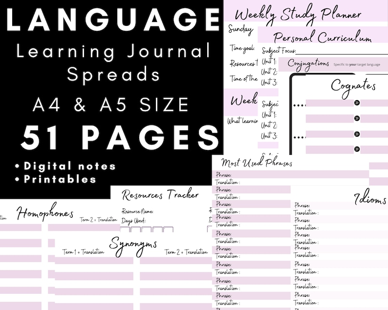 Language Learning Journal Spreads ULTIMATE Bundle for language image 0