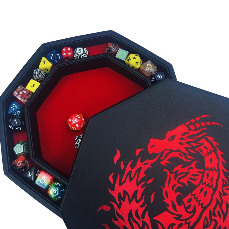 7  Standard for All Tabletop RPGs 8 Octagon with Lid and Dice Staging Area- Holds 5 Sets of Dice Fantasydice Red Fire Dragon Dice Tray