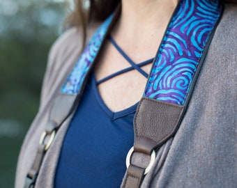 """Purple Batik Camera Strap with Leather Details, Comfortable Padding, Luxury Fashion for Women, Soft Suede Backing, 2"""" wide"""