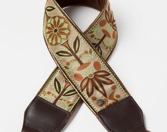 """Bronze Floral Camera Strap with Brown Leather, Comfortable Padding, Luxury Fashion for Women, Soft Suede Backing, 2"""" wide"""
