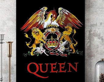 Art print poster//Canvas Queen Crest Classic Rock Band Freddie Mercury