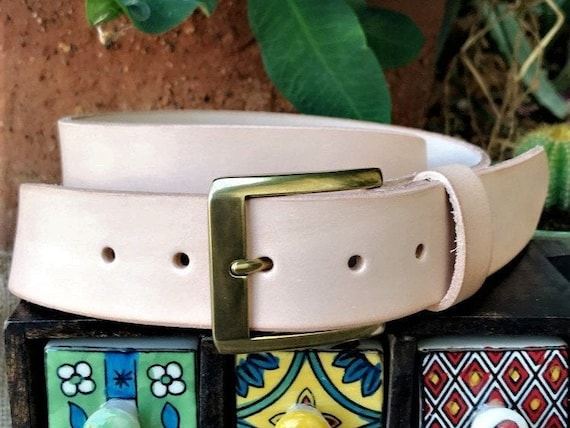 Casual One Piece Full Grain Vintage Leather Belt with Roller Buckle Made in USA 1 1//2 Wide