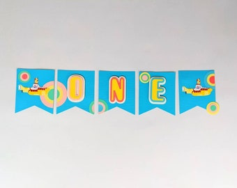 Groovy Yellow Submarine Birthday Banner, Disco 80's The Beatles Party decorations Disco music, when I'm 64