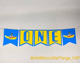 Yellow Submarine Birthday Banner, ONE banner, The Beatles Party decorations 80's party Blue-Yellow