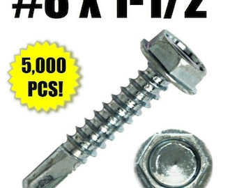 "H824 #8 x 1-1//2/"" Self Drilling Screw Hex Washer Head Zinc BULK BOX Qty 5,000"