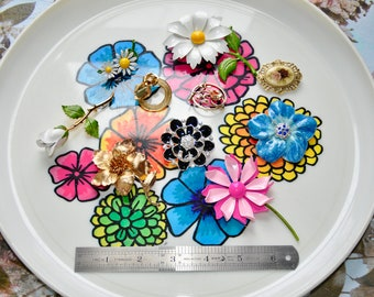 flower pin enameled flower pin collection of 10 flower brooches Vintage Lot of 10 Flower Brooches flower brooch vintage enameled flower