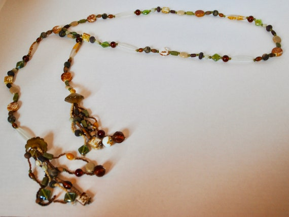 Hand Beaded Necklace  BoHo Jewelry  Handmade Glass Bead  Double Strand  Geometric  Gold Wire  Gold Accent  Holiday Gift  Unique Gift