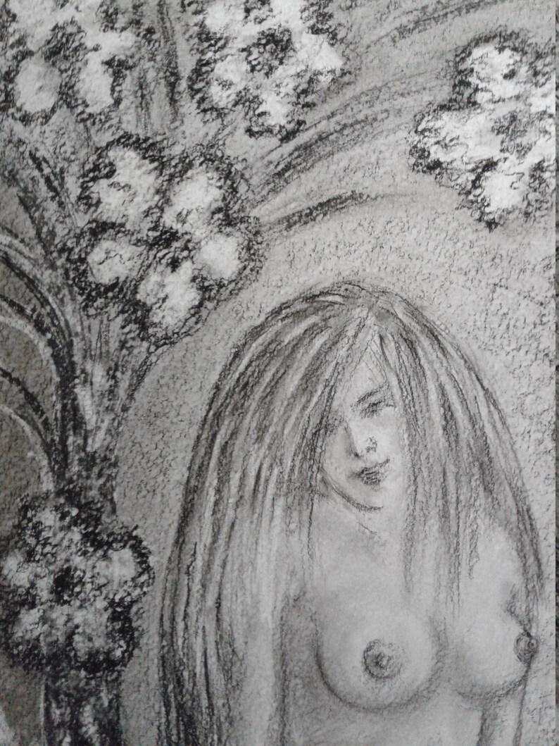 Charcoal Woman Portrait,Female Nudeart Original,Charcoal Drawing Woman,Charcoal Figure Drawing,Charcoal Drawing Original Drawings On Paper