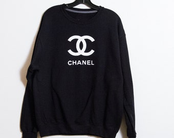 4ced7233 CC Hoodie Sweat Sweatshirt Black Chanel Designer Style great with t shirts,  unisex men women