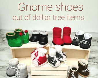 Gnome shoe pattern, NO SEW with simple diy instructions using dollar tree items.